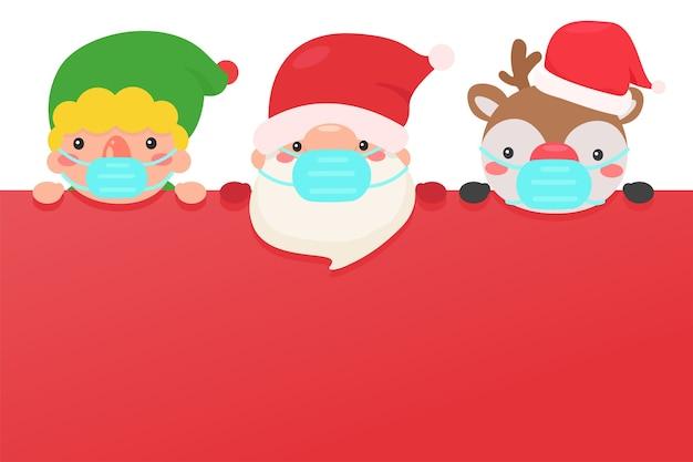 Santa elfos y reno llevan máscaras para prevenir el coronavirus durante el invierno de navidad. Vector Premium
