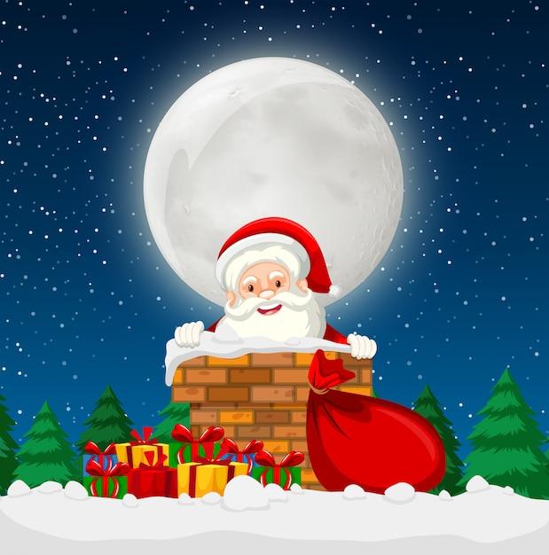 Santa en una escena de chimenea vector gratuito