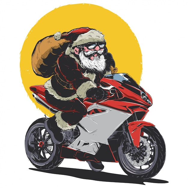 Santa montando bicicleta Vector Premium