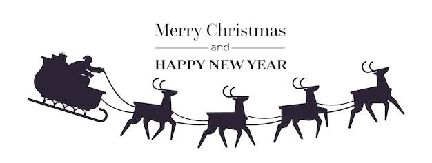 Santa montando trineo con renos feliz año nuevo y feliz navidad banner concepto de celebración de vacaciones ilustración de vector de espacio de copia horizontal Vector Premium