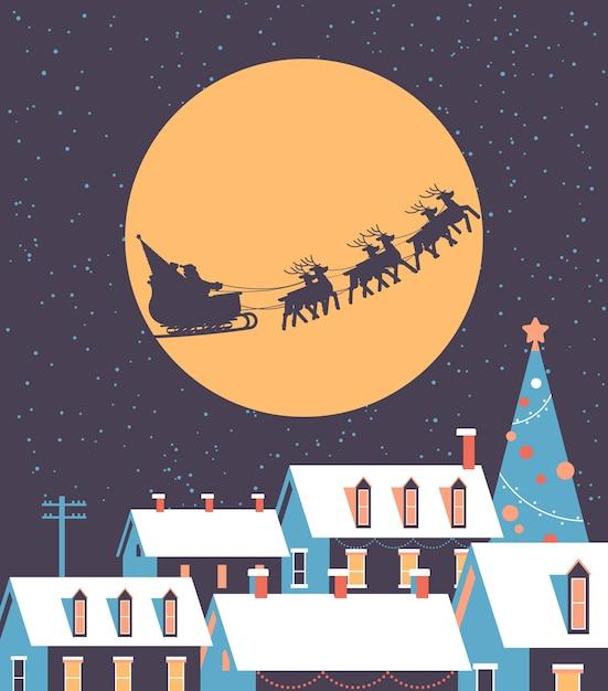 Santa volando en trineo con renos en el cielo nocturno sobre las casas nevadas del pueblo feliz navidad vacaciones de invierno concepto tarjeta de felicitación ilustración vectorial plana Vector Premium