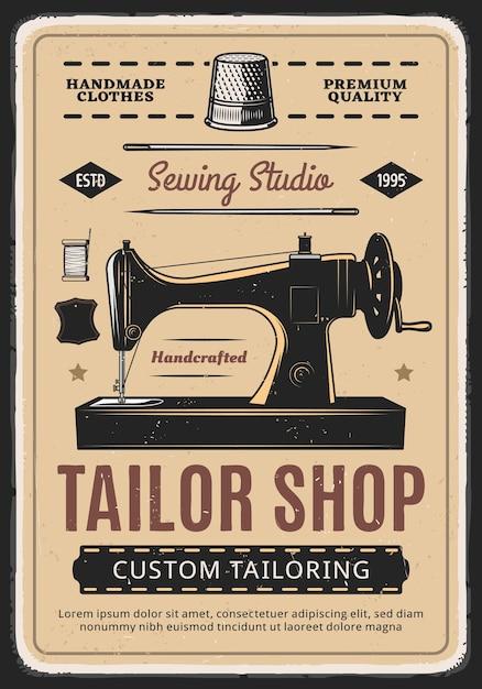 Sastrería, cartel retro de estudio de costura con máquina y carrete de hilo. Vector Premium