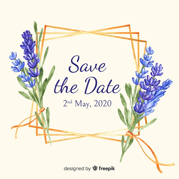 Save the date en acuarela vector gratuito