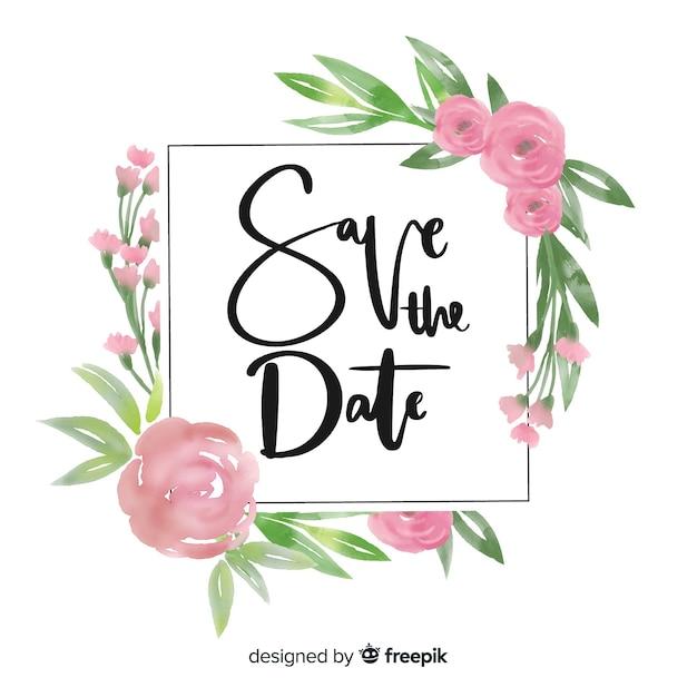 Save the date floral acuarela vector gratuito