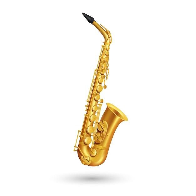 Saxofón de oro sobre fondo blanco en estilo de dibujos animados vector gratuito