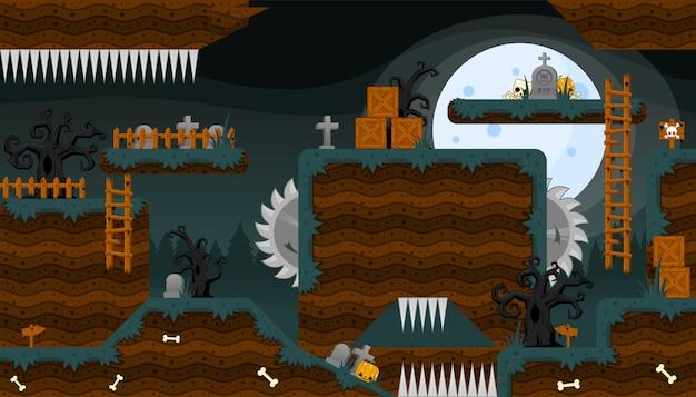 Scaryard cementerio juego tileset Vector Premium