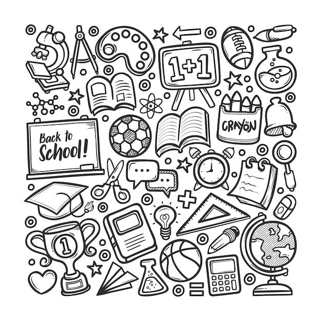 School hand drawn doodle coloring Vector Premium