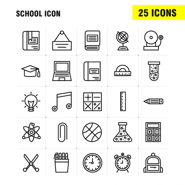 School icon line icon vector gratuito
