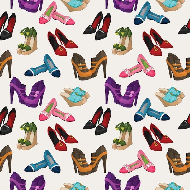 e0f80e0a Seamless mujer zapatos de moda patrón de fondo ilustración vectorial vector  gratuito