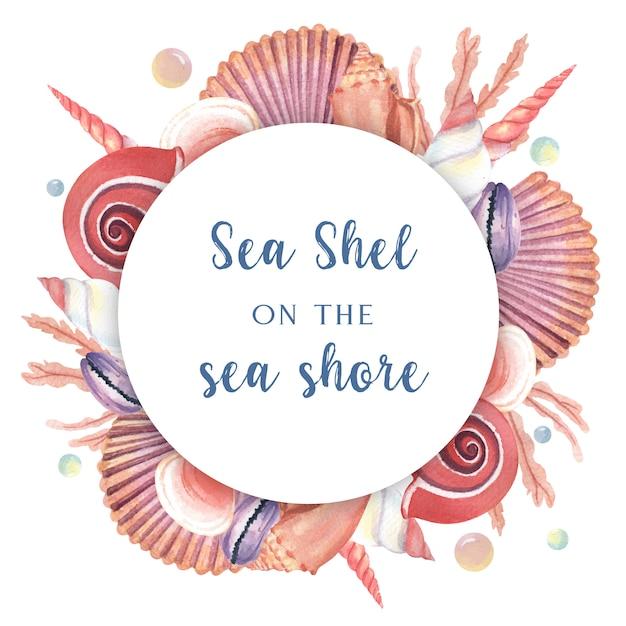 Seashell guirnalda vida marina verano viajes en la playa vector gratuito