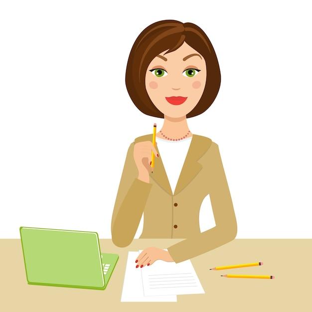 Secretaria de oficina con cuaderno y lápiz en la mano vector gratuito