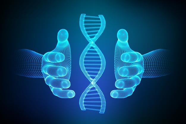 Secuencia de adn en las manos. estructura de moléculas de adn de estructura metálica de malla. Vector Premium