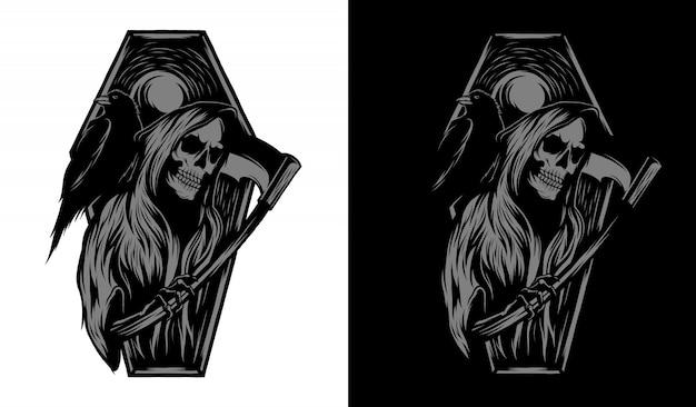 Segador ilustración en blanco y negro Vector Premium