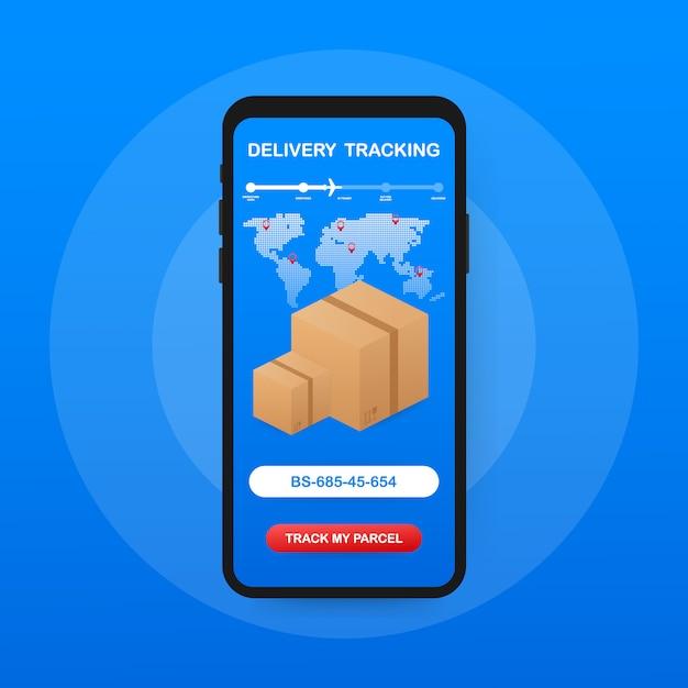 Seguimiento de paquetes. mano que sostiene el teléfono inteligente con paquete de cartón Vector Premium