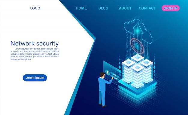 Seguridad de datos de red. protección de procesamiento de datos. información digital isométrica plana Vector Premium