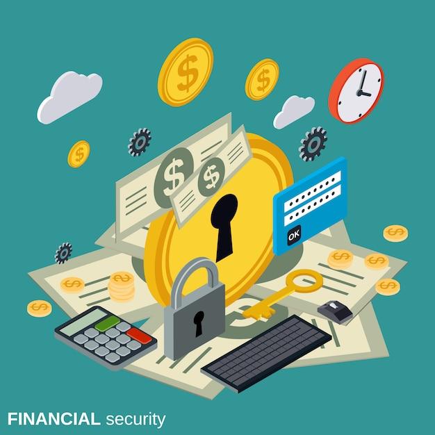 Seguridad financiera plana isométrica. Vector Premium