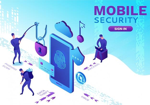 Seguridad móvil, protección de datos. Vector Premium