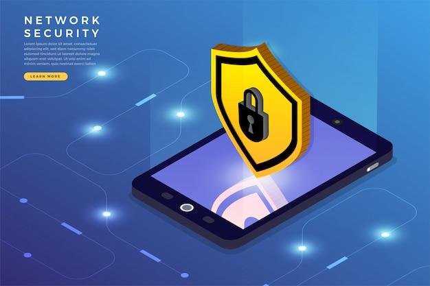 Seguridad de red isométrica Vector Premium
