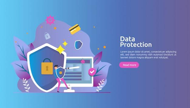 Seguridad de la red de seguridad y protección de datos confidenciales con carácter personal. Vector Premium