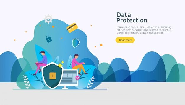 Seguridad de la red de seguridad y protección de datos confidenciales con carácter de personas. Vector Premium
