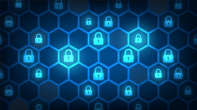 Seguridad de tecnología cibernética, fondo de protección de red Vector Premium