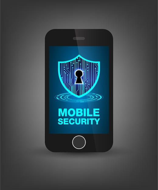 Seguridad del teléfono móvil Vector Premium