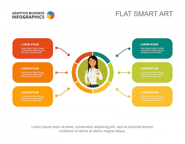 Seis elementos plan plantilla de gráfico de proceso para la presentación. vector gratuito