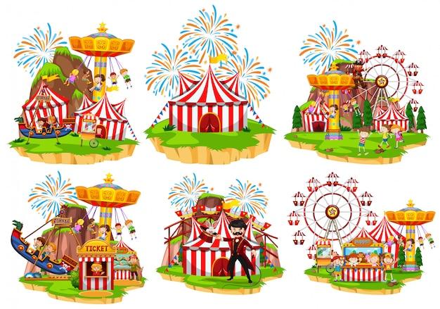 Seis escenas de circo con gente y atracciones. Vector Premium