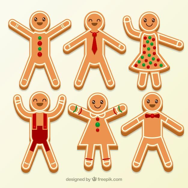 Seis galletas de hombre de jengibre vestidas vector gratuito