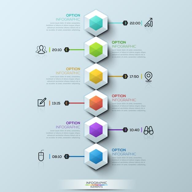 Seis hexágonos multicolores conectados con cuadros de texto y pictogramas, plantilla de infografía Vector Premium
