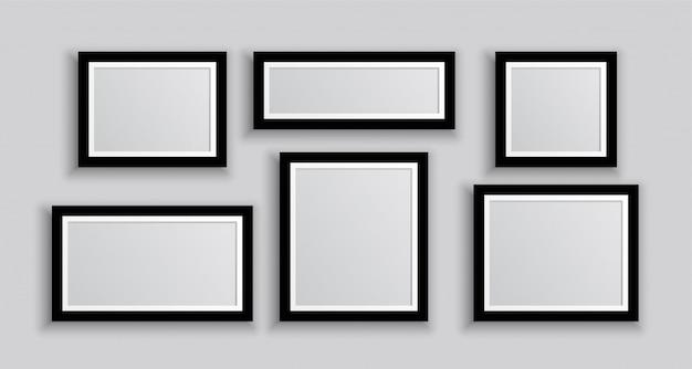 Seis marcos de fotos de pared en diferentes tamaños. vector gratuito