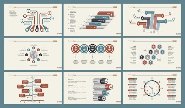 Seis plantillas de diapositivas de planificación vector gratuito