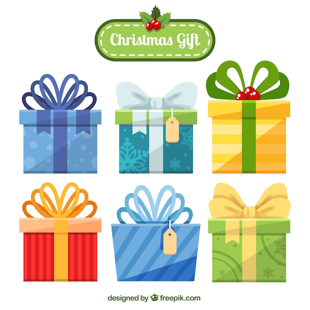 Seis regalos de navidad con lazos bonitos descargar - Regalos bonitos para navidad ...