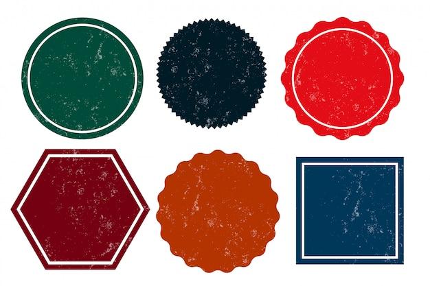 Seis sellos angustiados vacíos grunge etiquetas vacías vector gratuito