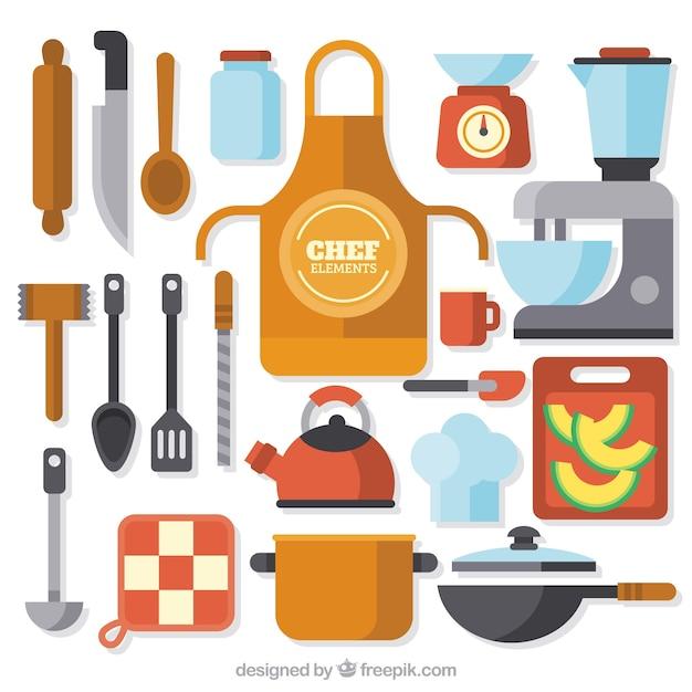 Selecci n de color de elementos de chef planos descargar for Elementos de cocina para chef