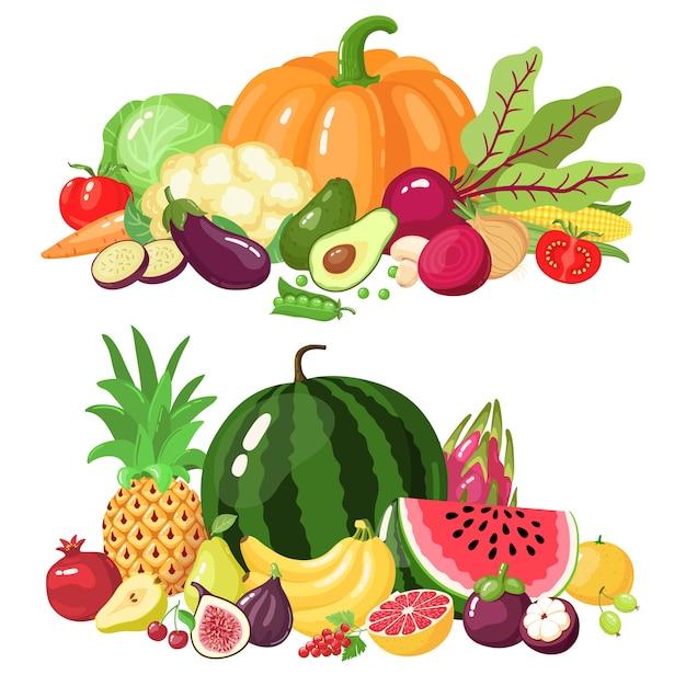 Selección de frutas y verduras Vector Premium