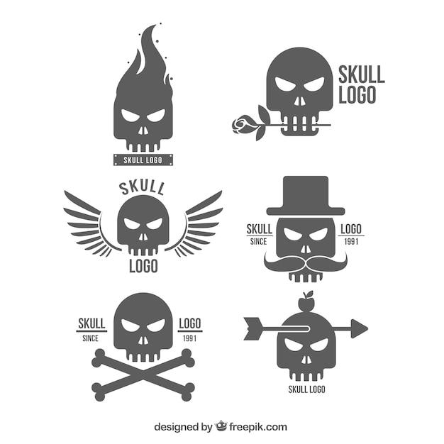Selección de logos de calaveras decorativos con siluetas vector gratuito