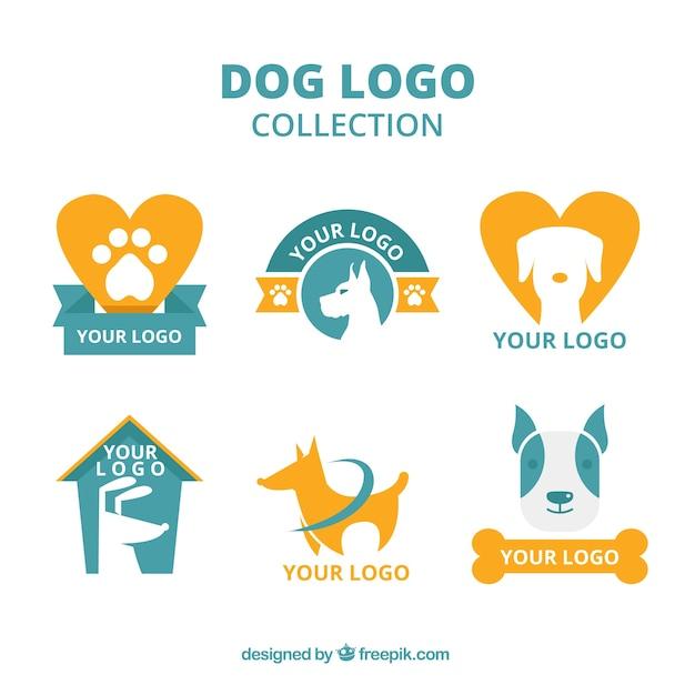 Selección de logos de perros naranjas y azules en diseño plano vector gratuito