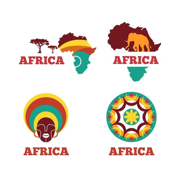 Selección de logotipo de mapa de áfrica vector gratuito