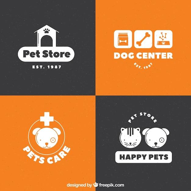 Selección de logotipos blancos para una tienda de mascotas vector gratuito