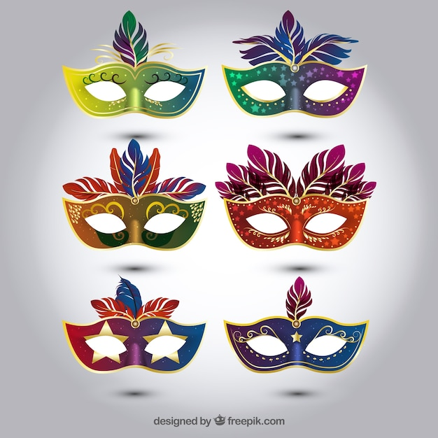 Selección de máscaras de carnaval coloridas en estilo realista vector gratuito