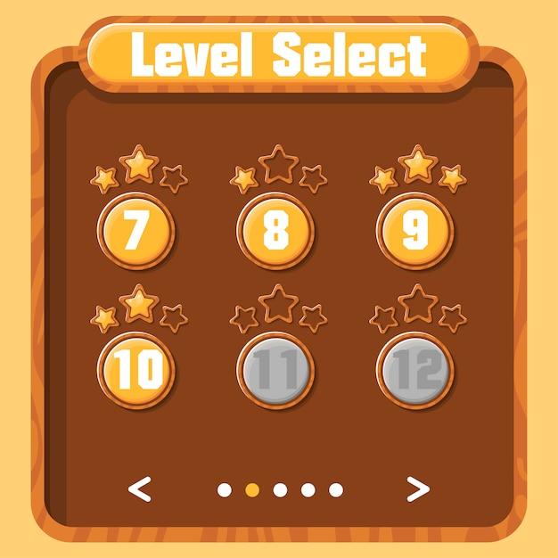 Selección de nivel, progreso del jugador. interfaz gráfica de usuario vectorial para videojuegos. menú brillante con botones y estrellas doradas. textura de madera. Vector Premium