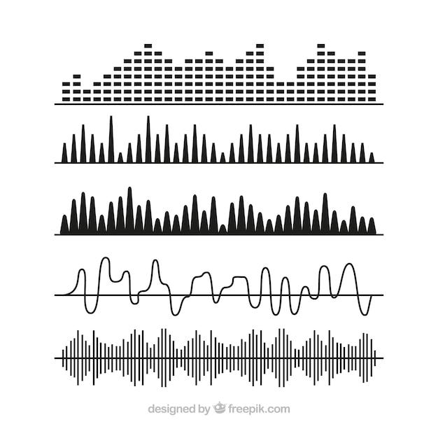 Selección de ondas sonoras negras con diferentes diseños vector gratuito