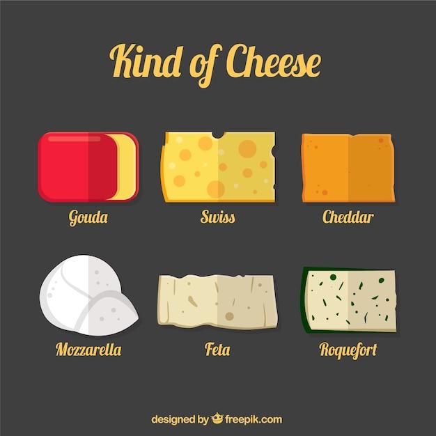 Selección de sabrosos quesos vector gratuito