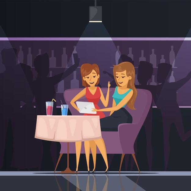 Selfie en café con mesa de tableta de mujeres y bebidas ilustración vectorial plana vector gratuito
