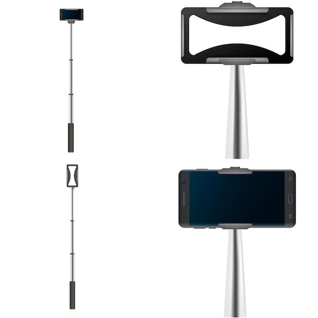 Selfie stick video foto móvil conjunto de maqueta. ilustración realista de 4 maquetas móviles de autofotos de palos autofotos para web Vector Premium