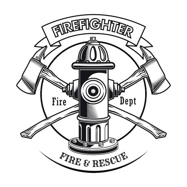 Sello de bombero con ilustración de vector de hidrante. hachas cruzadas y texto del departamento de bomberos. vector gratuito