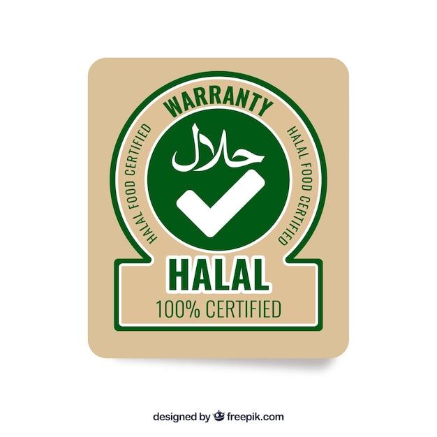 Sello de comida halal moderno con diseño plano vector gratuito