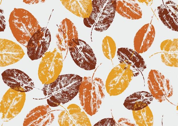Sello de hojas de otoño natural de patrones sin fisuras sobre fondo blanco Vector Premium