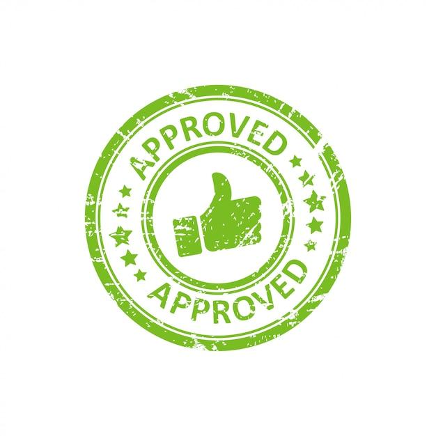 Sello verde aprobado con grunge Vector Premium